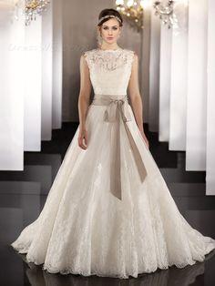 ファッショナブルなAラインバトーレースベルト劇的なウェディングドレス 10906276 - ウェディングドレス2014 - Dresswe.Com