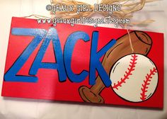 Boys name sign. 6x12 Custom Hand Painted Wood Name Sign Door Hanger--baseball. by geauxgirldesigns, $33.00 Boys room sign, sports, baseball