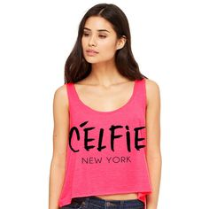 Cropped Tank Top Celfie New York Funny Summer Outfit Beach Tank Ladies... ($15) ❤ liked on Polyvore