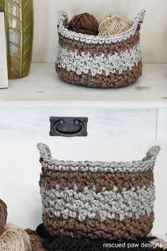 Crochet Basket Pattern || Rescued Paw Designs - Chunky Crochet Basket Pattern