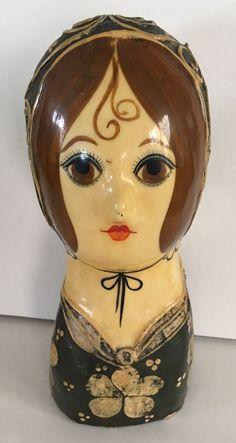 "Vintage Folk Art Lady 9 3/4"" Paper Mache Signed Feranza Mexico Gemma Taccogna? | eBay"