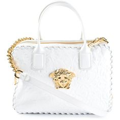 Versace Medusa Baroque Tote ($1,910) ❤ liked on Polyvore featuring bags, handbags, tote bags, white, handbags totes, white leather tote bag, white leather purse, leather tote purse and zip top leather tote