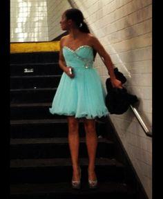 Lovely light blue short dress with sparkle.