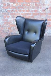 WING-BACK RETRO VINTAGE BLACK VINYL EASY CHAIR - CONTINENTAL ARMCHAIR in Antiques, Antique Furniture, Chairs, 20th Century | eBay