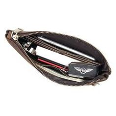 Dark Brown Leather Mens 8 inches Envelope Bag Wristlet Wallet Bag Zipper Clutch Wallet For Men Wristlet Wallet, Card Wallet, Handbags For Men, Small Shoulder Bag, Dark Brown Leather, Long Wallet, Large Bags, Clutch Bag, Zip Around Wallet