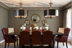 Red and Gray Dining Room, Contemporary, dining room, Artistic Designs for Living Design Lab, Traditional Dining Tables, Tufted Dining Chairs, Classic Dining Room, Dining Room Design, Dining Rooms, Dining Area, Traditional Interior, Contemporary Dining Rooms