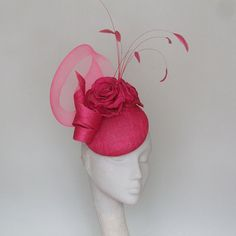 Mother of Bride Hat, Occasion Fascinator, Wedding Hat Pink Wedding Hats, Wedding Fascinators, Headpieces, Hair Fascinators, Headpiece Wedding, Royal Ascot Hats, Pink Fascinator, Steampunk Top Hat, Occasion Hats