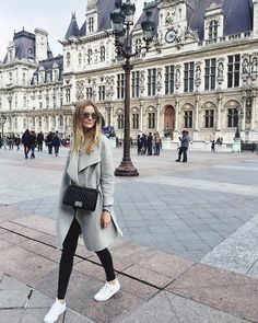 Grey jacket + white sneaks + chanel bag // passionsforfashion