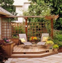 """Paint white and run vines through it! Use partial pergola """"walls"""" rather than full pergola for front patio to define outdoor room without sacrificing sunlight into the house. Outdoor Rooms, Outdoor Gardens, Outdoor Living, Outdoor Decor, Backyard Patio, Backyard Landscaping, Backyard Ideas, Patio Ideas, Pergola Ideas"""