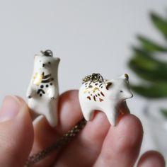 Tiny golden polar bears from Smallwildshop