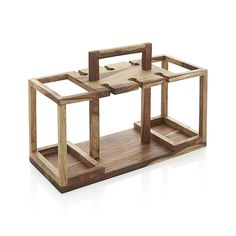 Shop Wine Bottle and Glass Caddy.  Beautiful hardwood caddy is ready when you are, tidying up the bar with storage for four bottles of wine and racks for up to six wine glasses.