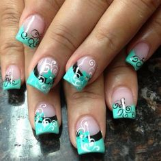 Nail art from the NAILS Magazine Nail Art Gallery, acrylic, french, Fingernail Designs, Acrylic Nail Designs, Nail Art Designs, Acrylic Nails, Get Nails, Fancy Nails, Love Nails, Fabulous Nails, Gorgeous Nails