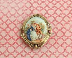 Antique hand painted porcelain brooch with courting couples, Victorian by CardCurios on Etsy Painted Porcelain, Hand Painted, Hey Diddle Diddle, Carat Gold, Nursery Rhymes, Makers Mark, Vintage Brooches, Victorian, Antiques