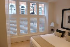Our range of bespoke wooden shutter designs are crafted from the highest quality solid wood and are exclusively hand-finished for each individual order. Bedroom Shutters, Window Shutters, Bedroom Windows, Small Shutters, Wooden Shutters, Cafe Style Shutters, Georgian Windows, Shutter Designs, Dining Room Windows