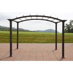 Garden Oasis 8' x 10' Arched Steel Pergola w/ Open Roof - Dark Brown *Limited Availability*