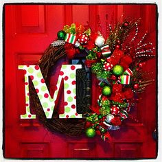 Noel Christmas Wreath with Initial - DIY Merry Christmas, Winter Christmas, All Things Christmas, Christmas Holidays, Christmas Wreaths, Christmas Decorations, Xmas, Christmas Reef, Woodland Christmas