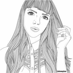 Find images and videos about girl, art and drawing on We Heart It - the app to get lost in what you love. Tumblr Sketches, Tumblr Drawings, Tumblr Art, Girl Drawing Sketches, Cute Girl Drawing, Girl Sketch, Cool Sketches, Girl Drawings, Tumblr Outline