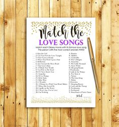 Disney Love Songs Match Game Printable Coral Blush By Ohellobride