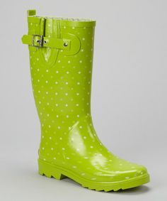 Take a look at this Lime Polka Dot Rain Boot by Chooka on #zulily today!