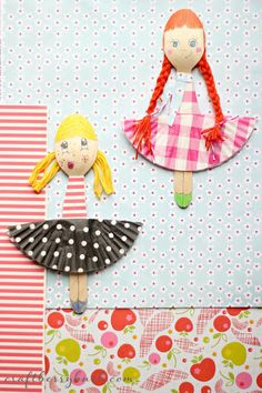 Fashion wooden spoon dolls by Craftberry Bush | Skip To My Lou, fakanál baba