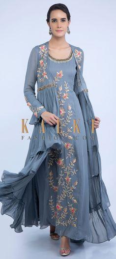 Grey Tunic Dress With Embroidered Front Panel And Long Frill Layered Jacket Online - Kalki Fashion Anarkali Dress, Pakistani Dresses, Indian Dresses, Indian Outfits, Long Jacket Dresses, Long Tunic Dress, Long Blouse, Stylish Dresses, Fashion Dresses