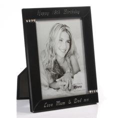 Engraved Black and Diamante Photo Frame