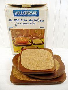 Vintage Hellerware Wooden Trivet Set In Box by vintagegoodness, $17.95