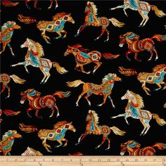 Timeless Treasures Out West Southwest Horses Black Fabric 0461717 Sold By the Yard Horse Quilt, Horse Fabric, Frida Art, Timeless Treasures Fabric, Horse Pattern, Painted Pony, Shops, Black Fabric, Fabric Design
