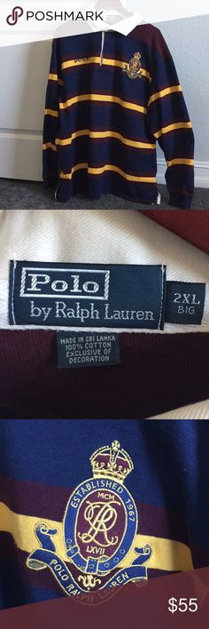 Polo by Ralph Lauren Rugby Shirt 2XL EUC- thick material - Bright colors Polo by Ralph Lauren Shirts
