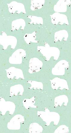Momoro illustration : photo pattern & illustration animals ф Polar Bear Illustration, Illustration Noel, Pattern Illustration, Digital Illustration, Polar Bear Wallpaper, Cute Wallpapers, Wallpaper Backgrounds, Commercial Wallpaper, Whatsapp Wallpaper