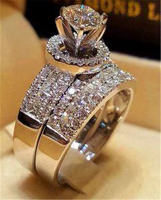 Details about Ladies Engagement Wedding Bridal Ring Set Round Diamond White Gold Finish - Rings - Anillos Bridal Ring Sets, Bridal Rings, Wedding Rings, Wedding Set, Wedding White, Princess Wedding, Diamond Wedding Bands, Diamond Engagement Rings, Engagement Jewellery