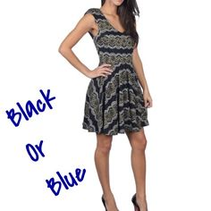 Gorgeous lace dress Beautiful lace dress in black or blue . Also available in size Large . Please mention your color and I will create a individual listing for u .  Dress has some stretch to it for that comfortable fit , With back zipper . Measurements lying flat .                                     Medium; Length 34 pit to pit :17 waist : 14 Large ;  Length 34 pit to pit :18 waist : 15 Dresses Midi
