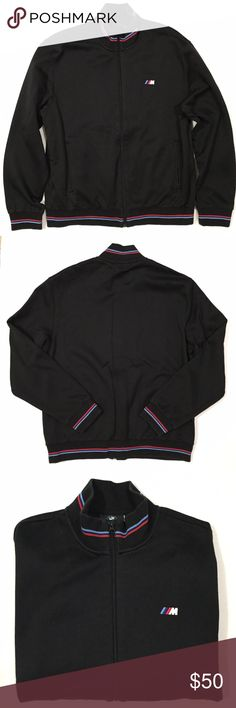 """[BMW] men's """"M series"""" black zip-up jacket L [BMW] men's """"M series"""" black zip-up jacket L •🆕listing •good pre-owned condition •black with blue/red stripe detail •full front zipper, 2 hand pockets with zippers •material 65% cotton 35% polyester (medium light weight) •some overall lightening to material black trim •some material changes from washing if looking closely •offers and bundles welcomed using the features••• BMW Jackets & Coats"""