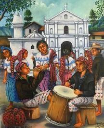 Tocando chirimia, Mario Gonzalez Chavajay. Guatemala