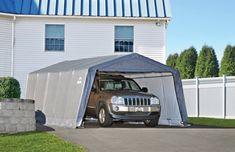 Shelterlogic Garage-in-a-Box x x Peak Style Instant Garage, Gray Instant Garage, Prefab Garages, Portable Garage, Pony Wall, Garage Kits, Carport Kits, Garden Canopy, Shed Storage, Panel Doors