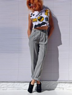 Pleated 50s Pants Grey Gingham Pants High Waist Pants Pin Up Pants Taylored Pants Check Pants Grey Trousers Pleated Trousers Wide Leg Pant by tomacrafts on Etsy