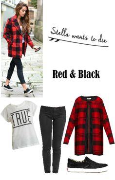 Apúntate a un look en Rojo y Negro como la blogger StellaWantsToDie. Abrifo de @ONLYjeans, pantalón pitillo de @newcaro72, camiseta de @veromodafashion y zapatillas 'slip-on' de @dieselfootwear.