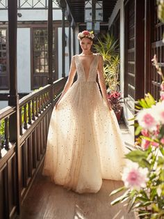 Galia Lahav Haute Couture Wedding Gown Amaya Florence By Night Sparkly low v-neck A-line dress with a voluminous skirt and long sleeves. The dress is entirely embroidered with Swarovski crystals to create an all over stardust effect. Most Beautiful Wedding Dresses, Fall Wedding Dresses, Bridal Dresses, Wedding Gowns, 2017 Wedding, Bridesmaid Dresses, Celestial Wedding, Dress Vestidos, Long Sleeve Wedding