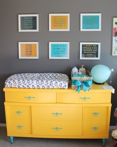 yellow dresser with aqua and grey
