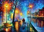 """NIGHT FOREST — PALETTE KNIFE Oil Painting On Canvas By Leonid Afremov - Size 36""""x48"""""""