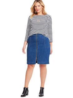 Zip Front Denim Skirt*