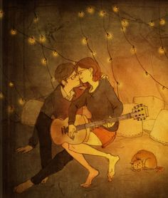 Korean Artist Beautifully Illustrates What True Love Is All About Art And Illustration, Love Is Sweet, What Is Love, Cute Love, Puuung Love Is, Chillout Zone, Art Amour, Art Couple, What's True Love
