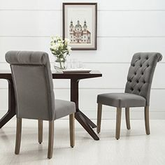 Christies Home Living Roll Top Tufted Linen Fabric Modern Urban Contemporary Dining Chair Set of 2 *** For more information, visit image link.-It is an affiliate link to Amazon. #DiningSets