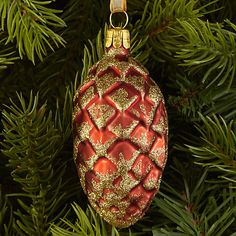 Buy John Lewis Ruskin House Glittered Pinecone Bauble, Red Online at johnlewis.com