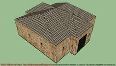 Maqueta de papel de edificio de piedra de una planta  Nuestra maqueta de papel de hoy es un edificio de piedra con bonito tejado y planta de cruz, en un solo nivel.