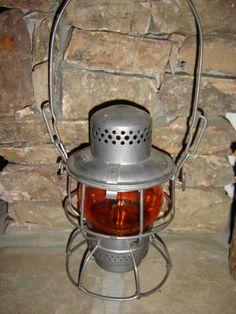 Old Railroad Lanterns | RailRoad Vintage RailRoad Lantern with Orange Glass Globe