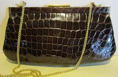 Gorgeous vintage brown real crocodile leather bag !