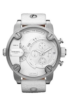 DIESEL® Large Multifunction Chronograph Leather Strap Watch - WHITE***