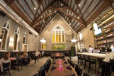 5Church (pictured) Given Charleston's nickname, the Holy City, it's only fitting that one of the city's hottest dining venues be housed in a converted church. This 5,500-square-foot space serves up New American fare in a space decorated with stunning chandeliers, vibrant stained-glass windows, an industrial-chic concrete bar, and a hand-painted ceiling inscribed with Sun Tzu's The Art of War. 32B North Market Street; 5churchcharleston.com  Edmund's Oast Pulling off a stylish farmhouse…