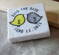 Initial Love Bird Wedding Favors, Save the Date Magnets -- cute idea